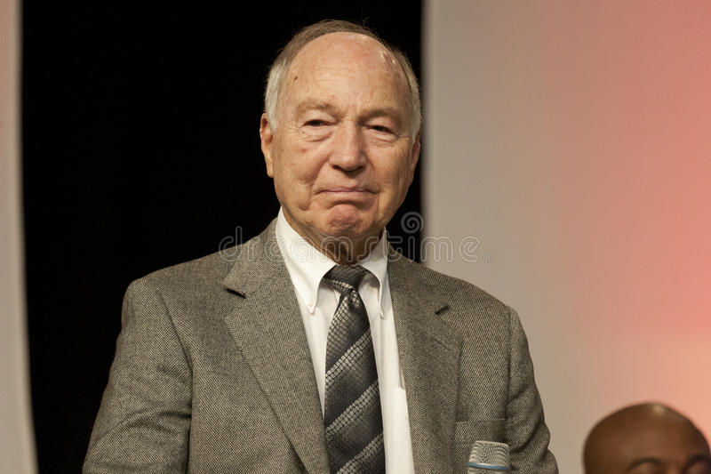 Bart Starr. Legendary Bart Starr speaks at the annual Athletes in Action Super Bowl breakfast on January 4, 2012 in Indianapolis, IN prior to giving the award stock photos