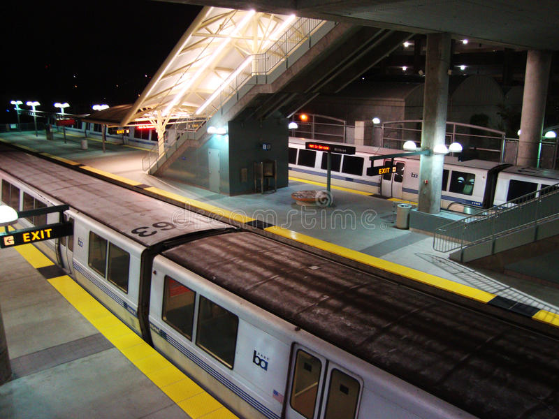 BART Train Parked at BART Millbrae Station. SAN FRANCISCO, CA - FEBRUARY 16: BART Train Parked at BART Millbrae Station as it waits for passangers to take to SFO stock photo