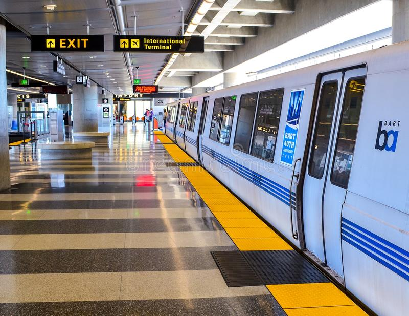 BART Train at the San Francisco Airport. A Bart train at the San Francisco International Airport station is ready to depart for San Francisco and the East Bay stock photo