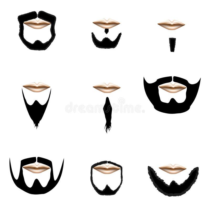 Schnurrbart- Und Bartarten, Vektor Abbildung