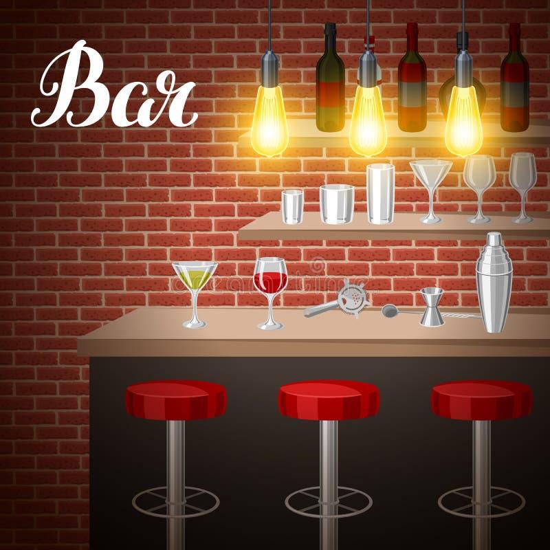 Barteller in bar of nachtclub Illustratie van binnenland met toebehoren, dranken en cocktails stock illustratie
