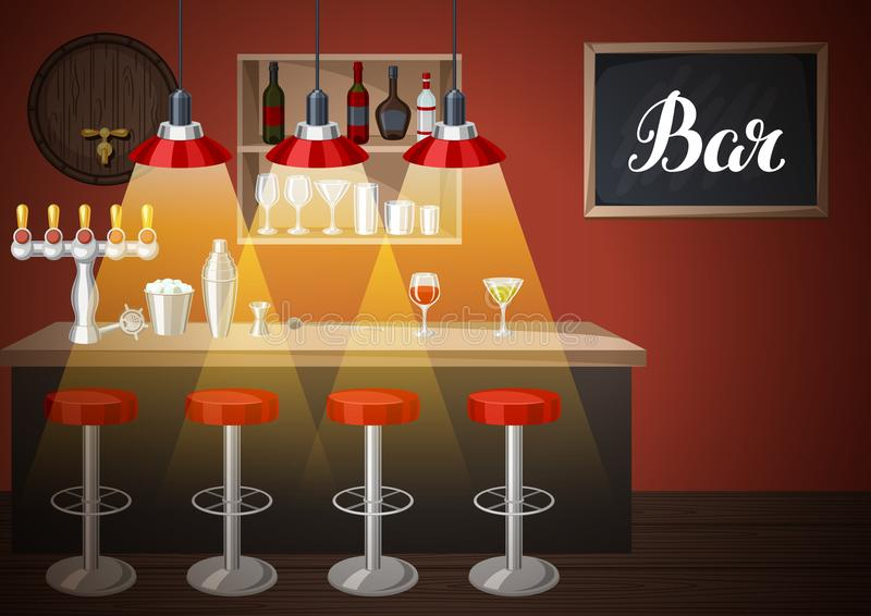 Barteller in bar of nachtclub Illustratie van binnenland met toebehoren, dranken en cocktails vector illustratie