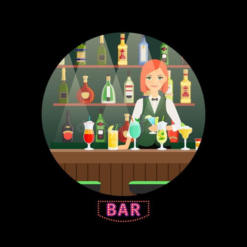 Bartender φραγμών και κοριτσιών διανυσματικό στρογγυλό έμβλημα ελεύθερη απεικόνιση δικαιώματος