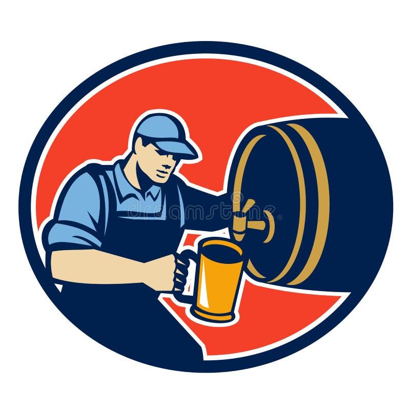 Bartender ζυθοποιών χύνει το βαρέλι σταμνών μπύρας αναδρομικό απεικόνιση αποθεμάτων