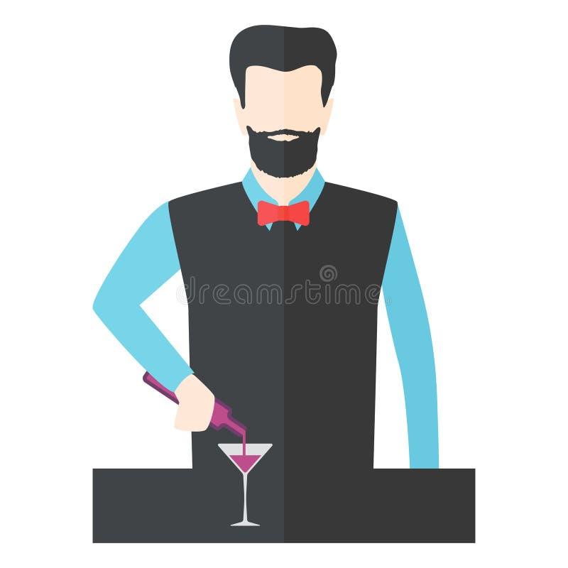 Bartender διανυσματική απεικόνιση μπάρμαν ελεύθερη απεικόνιση δικαιώματος