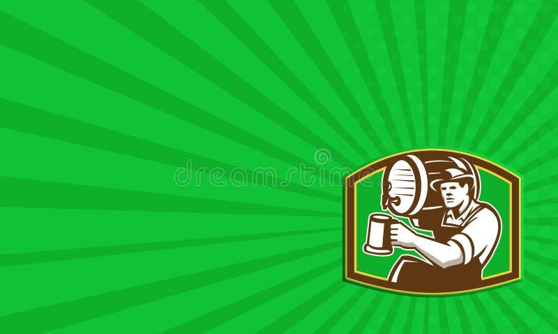 Bartender μπάρμαν χύνει το βαρέλι μπύρας αναδρομικό απεικόνιση αποθεμάτων