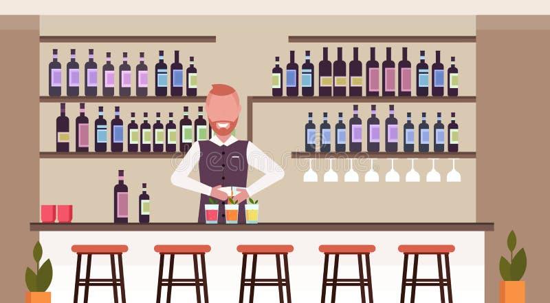 Bartender που χρησιμοποιεί το δονητή που κάνει τον μπάρμαν κοκτέιλ στο ομοιόμορφο χύνοντας ποτό ποτών μίξης στο σύγχρονο εστιατόρ διανυσματική απεικόνιση