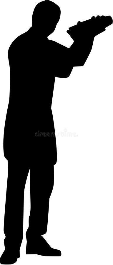 Bartender σκιαγραφία μπάρμαν ελεύθερη απεικόνιση δικαιώματος
