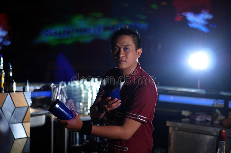 Download Bartender in action stock image. Image of glass, pose - 20788931