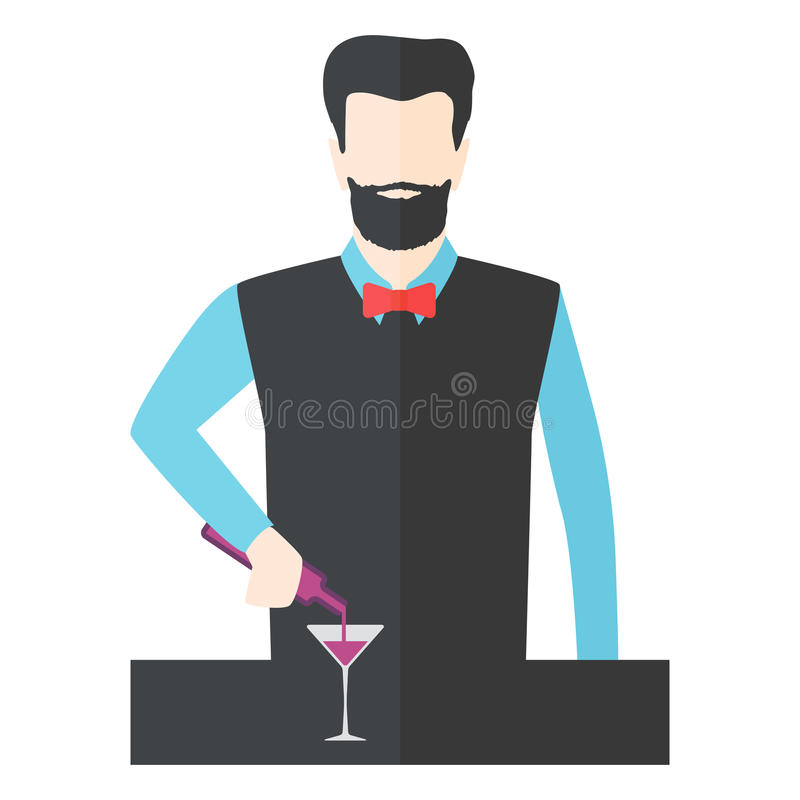 Bartender barman vector illustration. Bartender barman making cocktails at bar counter. Silhouette of man prepares drink vector. Professional restaurant royalty free illustration