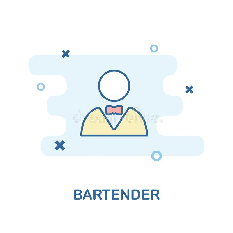 Bartender creative icon in color. Simple element illustration. Bartender concept symbol design from Bar and Restaurant collection. royalty free illustration