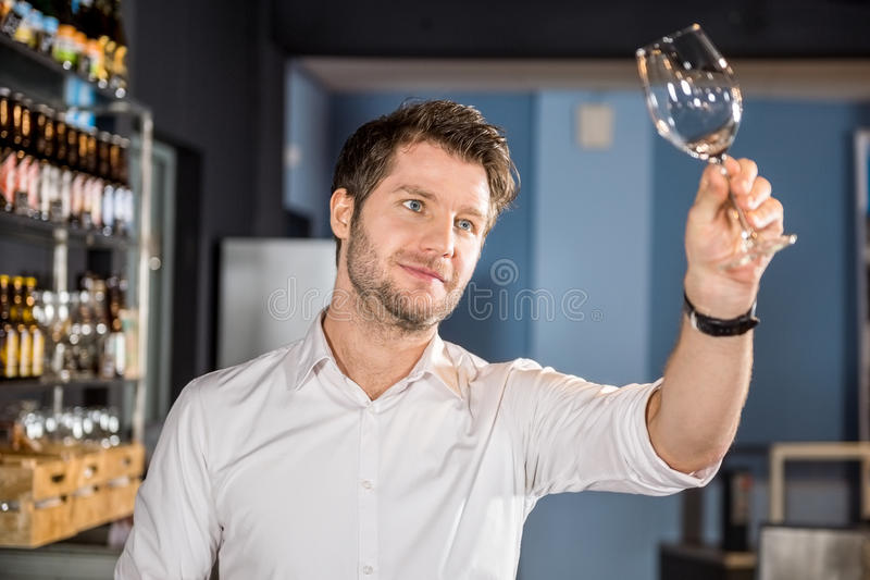 Bartender Examining Glass Of Wine In Bar. Young male bartender examining glass of wine in bar royalty free stock images