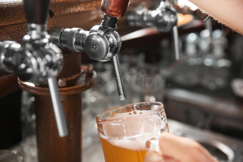 Bartender pouring beer from tap into glass, closeup royalty free stock photo