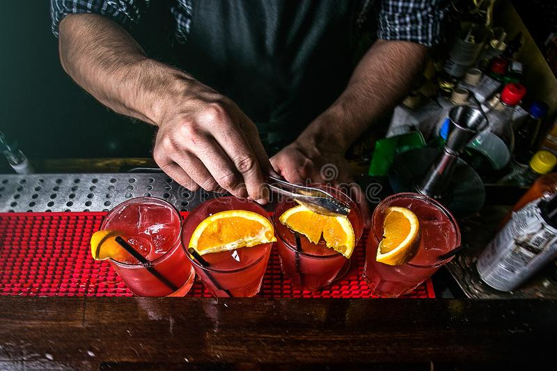 The bartender prepares cocktails royalty free stock photos
