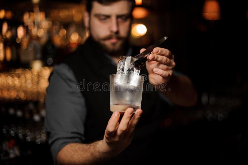 Bartender som rymmer i hand en iskub i pincett som sätter den på ett kallt matte coctailexponeringsglas royaltyfri foto
