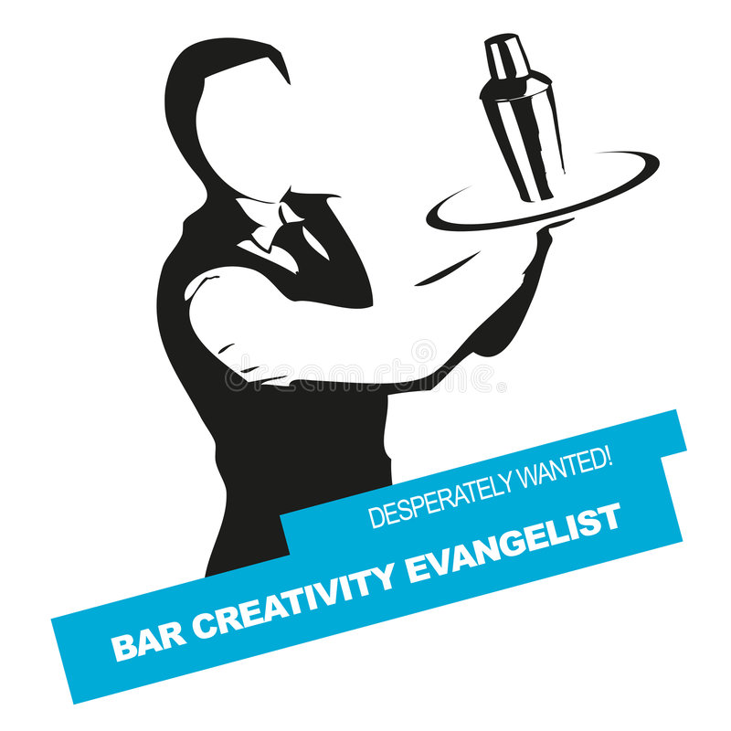 Bartender wanted vector signet vector illustration
