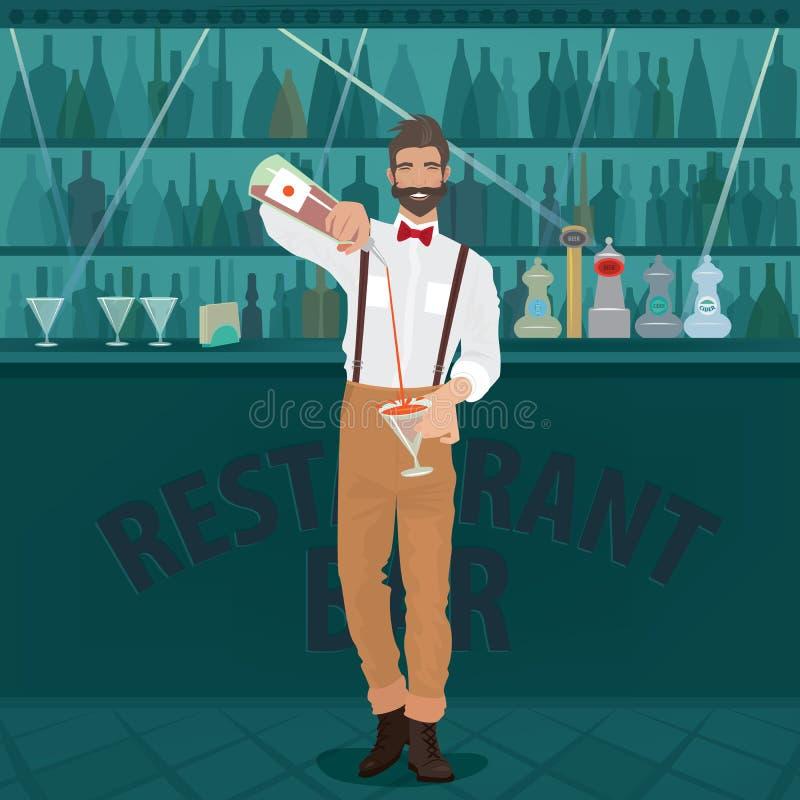 Bartenderhipsteren häller drinken in i exponeringsglas stock illustrationer