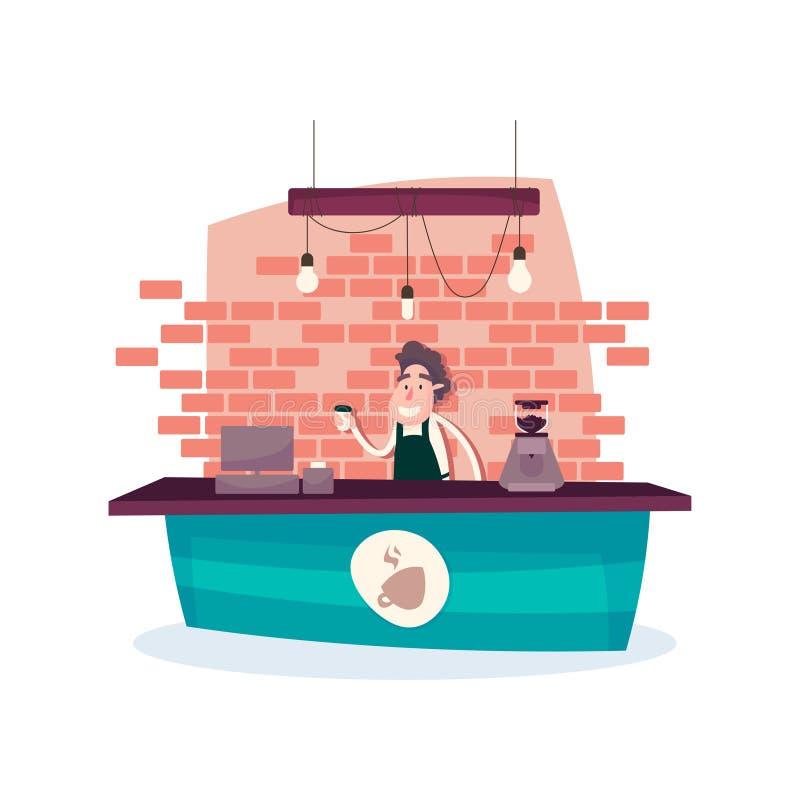 Bartendern förbereder det mest läckra kaffet royaltyfri illustrationer