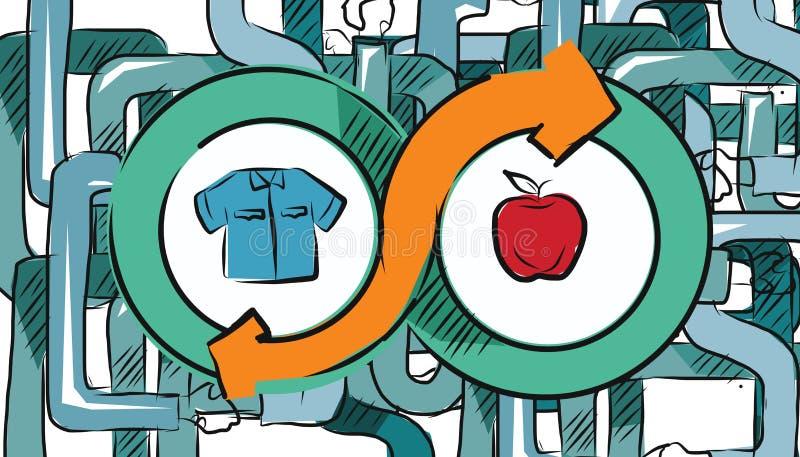 Barter commerce trade transaction economic concept exchange swap goods. Vector stock illustration