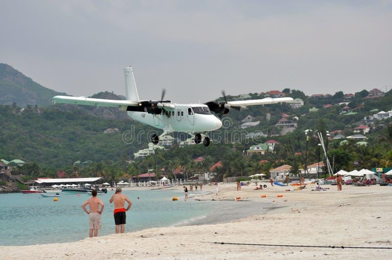 barth plażowego lądowania samolotu intymny st fotografia stock