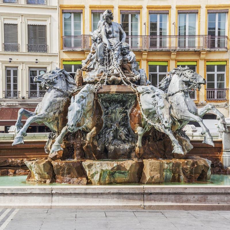 Bartholdi喷泉在利昂市 免版税库存照片