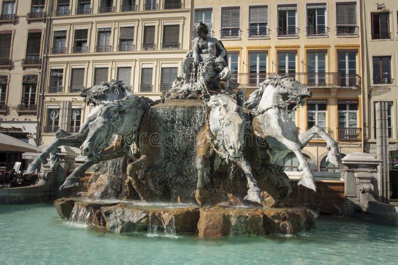 Bartholdi喷泉在利昂法国 库存图片