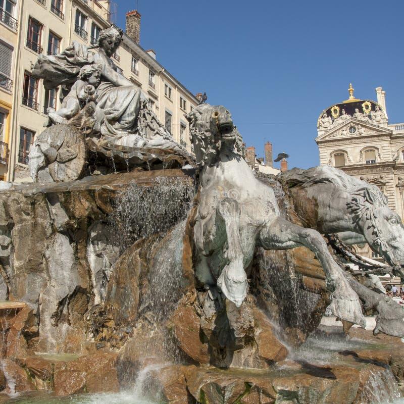 Bartholdi喷泉在利昂法国 图库摄影
