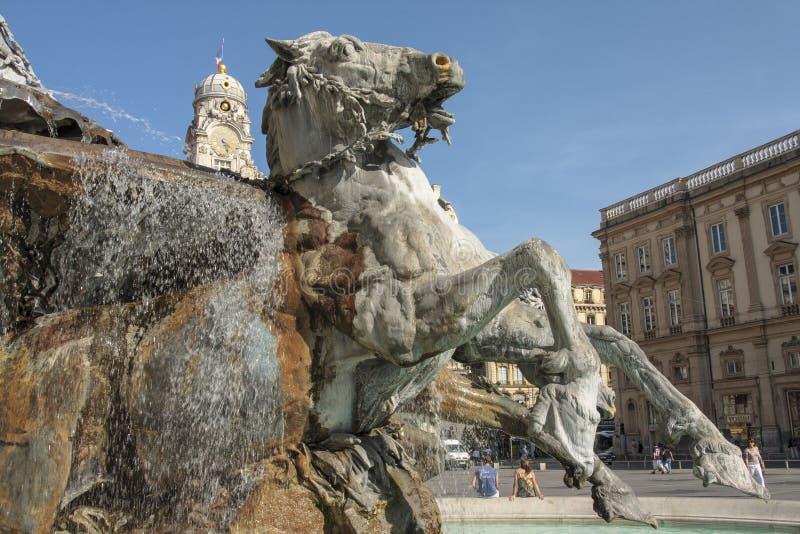 Bartholdi喷泉在利昂法国 免版税库存图片