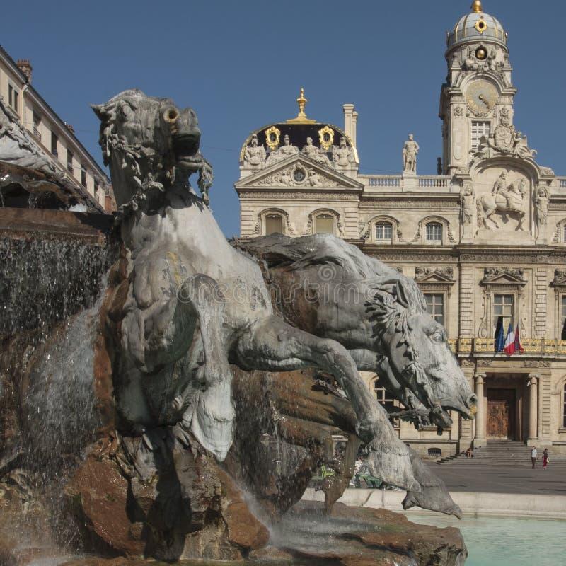 Bartholdi喷泉在利昂法国 免版税库存照片
