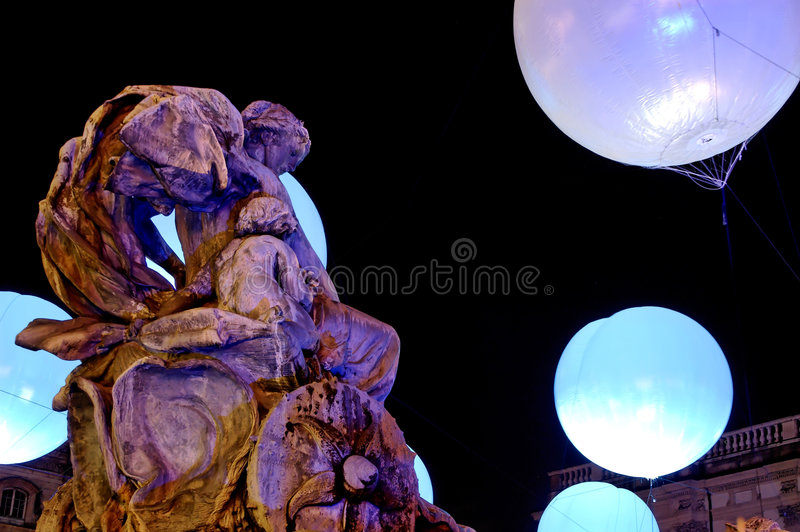 bartholdi喷泉法国利昂方形terreaux 库存照片