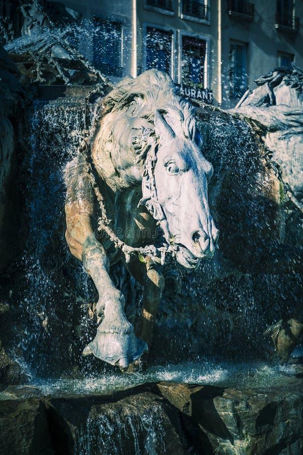 Bartholdi喷泉马在利昂 库存图片