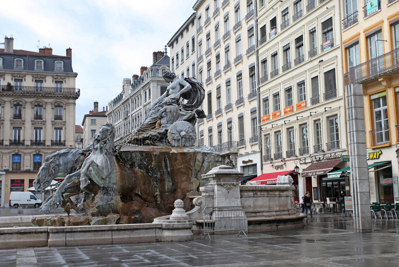 Bartholdi喷泉,利昂 免版税库存照片