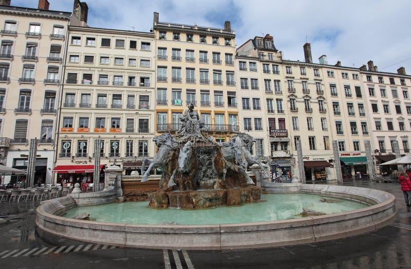 Bartholdi喷泉,利昂 免版税图库摄影
