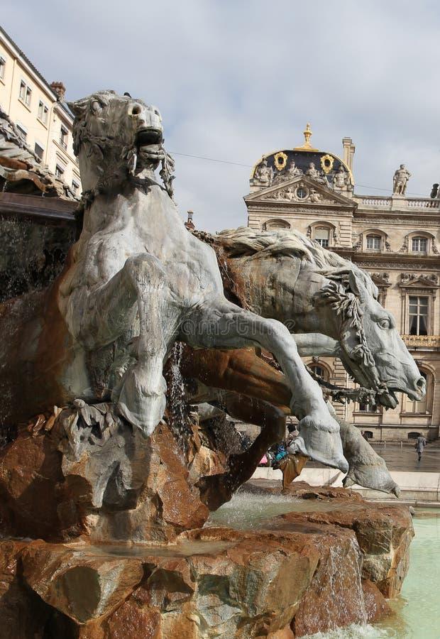 Bartholdi喷泉,利昂 库存图片