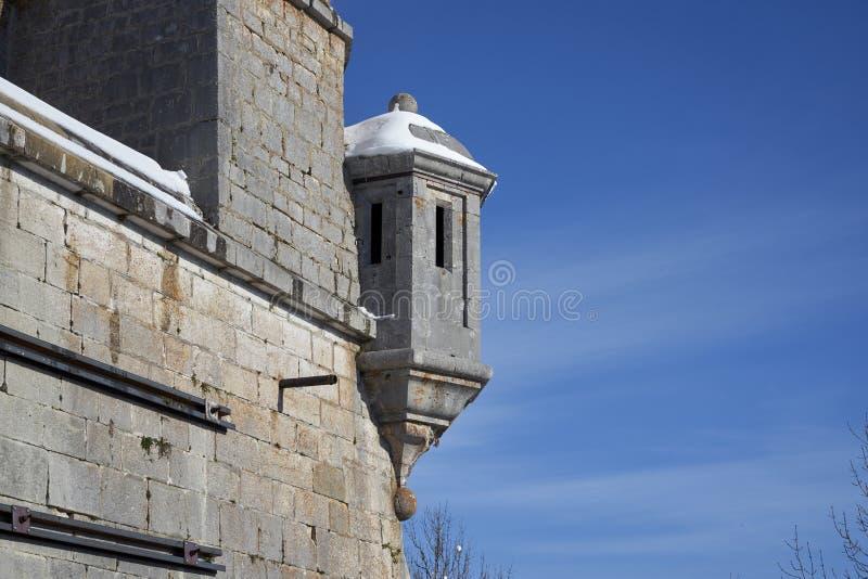 Bartizan, auch genannt ein guerite oder ein echauguette, im Fort Mahler stockbilder