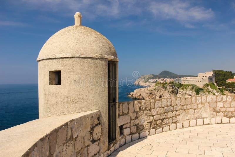 Bartizan. Dubrovnik. Croatia. Bartizan and the massive Fort Lovrijenac at a far distance. Dubrovnik. Croatia stock image