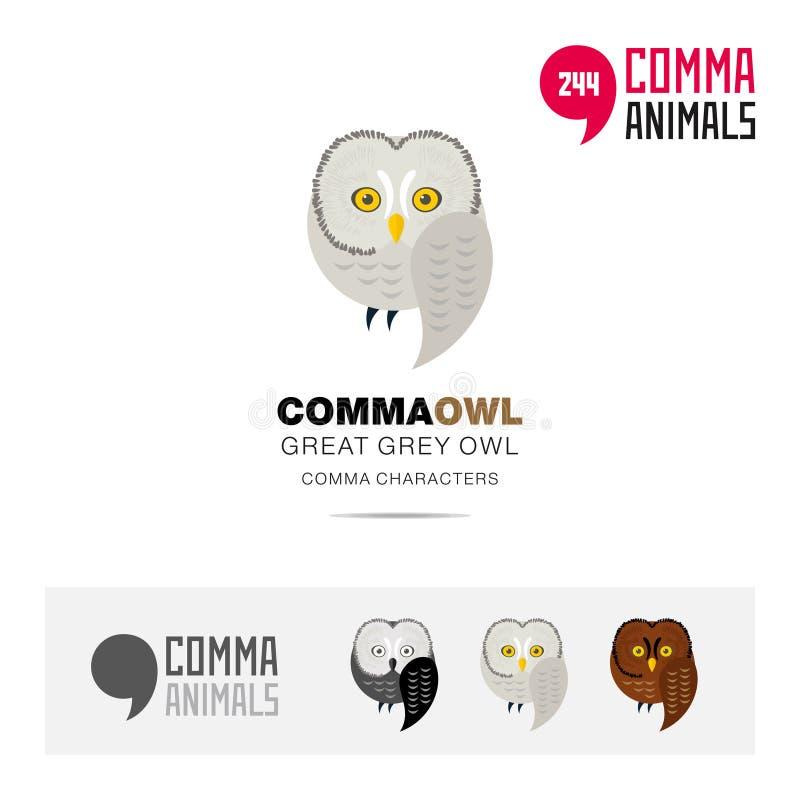 Bartkauzvogelkonzept-Ikonensatz und moderne Markenidentitätslogoschablone und APP-Symbol, das auf Komma basiert, unterzeichnen vektor abbildung