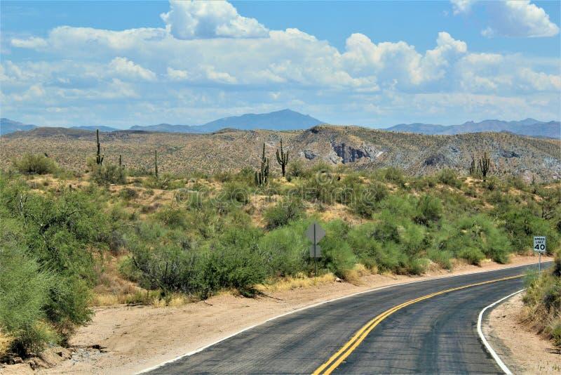 Bartlett湖水库,马里科帕县,亚利桑那州,美国风景风景视图 免版税库存图片