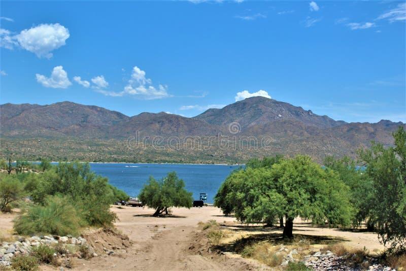 Bartlett湖水库,马里科帕县,亚利桑那州,美国风景风景视图 图库摄影
