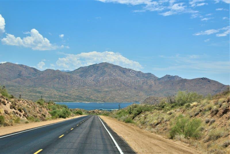 Bartlett δεξαμενή λιμνών, κομητεία Maricopa, κράτος φυσική άποψη τοπίων της Αριζόνα, Ηνωμένες Πολιτείες στοκ εικόνες με δικαίωμα ελεύθερης χρήσης
