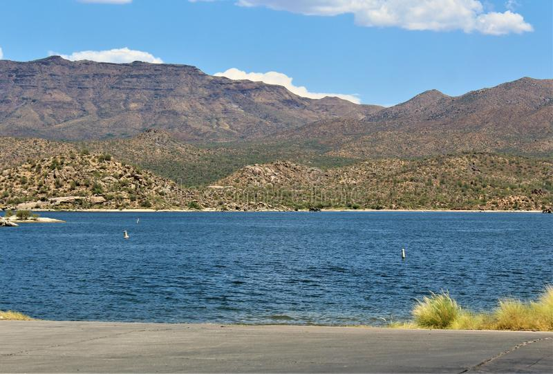 Bartlett Lake Reservoir, Maricopa County, State of Arizona, United States scenic landscape view. Scenic landscape spring view of surrounding area and of Bartlett royalty free stock images