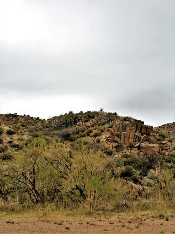 Bartlett Lake reservoir, Maricopa County, State of Arizona, United States scenic landscape view. Scenic landscape view of surrounding area of Bartlett Lake stock image