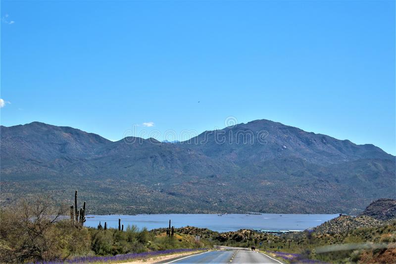 Bartlett Lake-Reservoir, szenische Landschaftsansicht Maricopa County, Staat Arizona, Vereinigte Staaten stockbilder