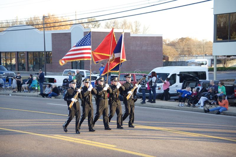Bartlett Tennessee Christmas Parade Color Guard royalty-vrije stock fotografie