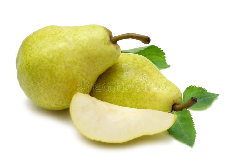 Bartlett (Williams) Pears. With wedge isolated on white with clipping path stock images