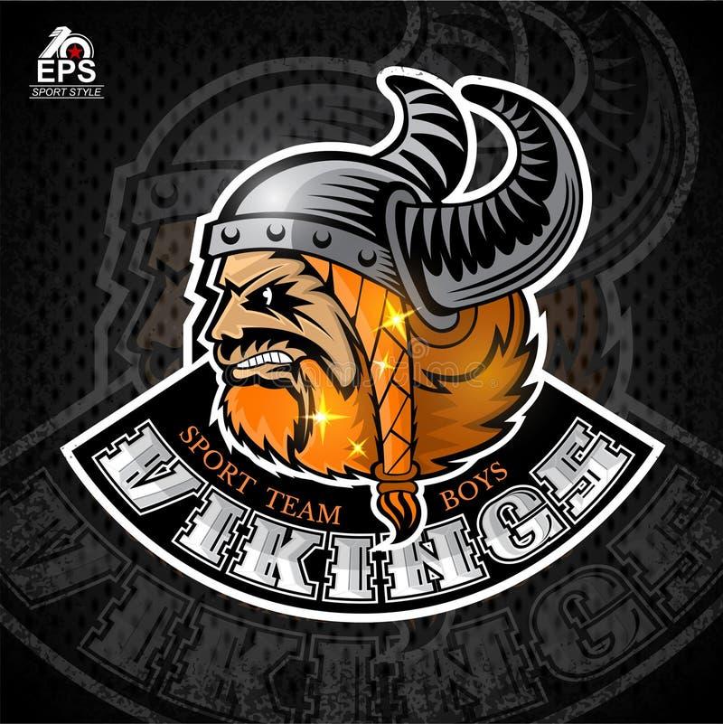 Bartmanngesicht im Profil mit gehörntem Sturzhelm Logo für irgendein Sportteam Wikinger auf Dunkelheit stock abbildung