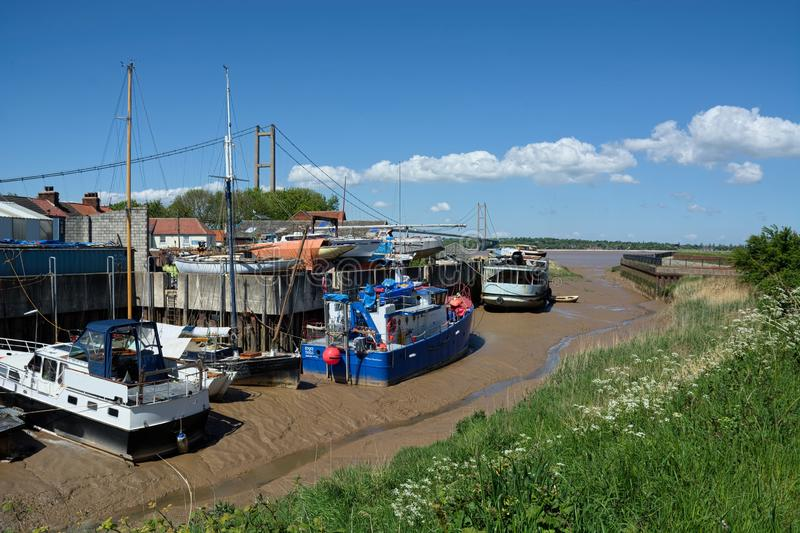 Barton Haven, Humber Bridge, Barton Upon Humber. UK. Barton Haven is a late Anglo-Saxon artificial harbour, created to provide a reliable deep-water port for royalty free stock photography
