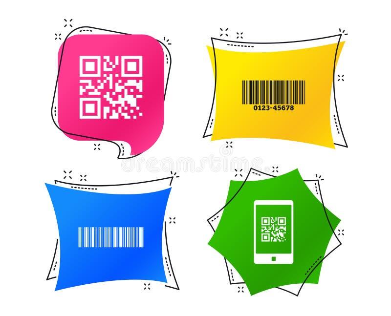 Baru i Qr kodu ikony Obrazu cyfrowego barcode symbol wektor ilustracja wektor