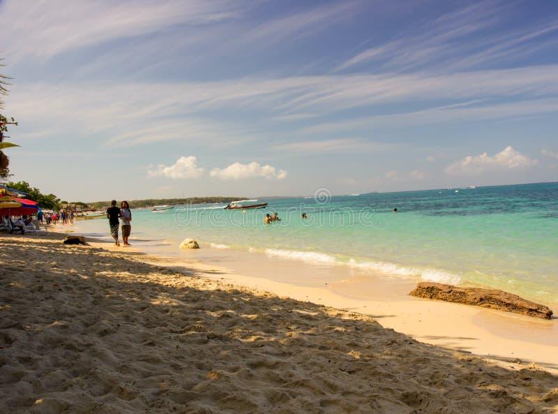Baru Island. Tropical sea and great beach at Baru Island near Cartagena, Colombia stock photography