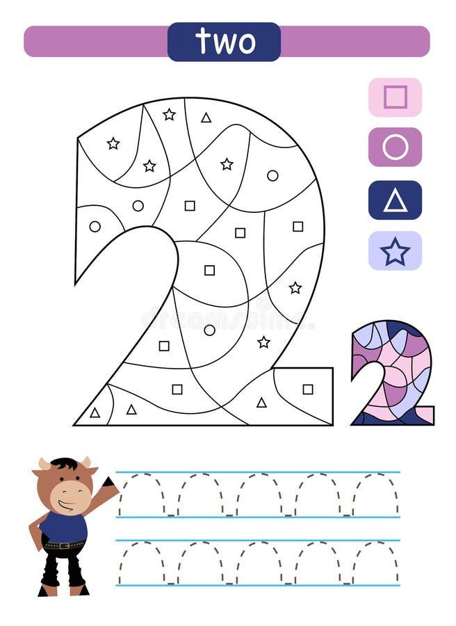 Barwić printable worksheet dla dziecina i preschool Uczyć się liczby i prostych kształty ilustracji